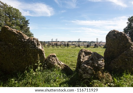 Prehistoric Rollright stone circle known as King's Men in Cotswolds England