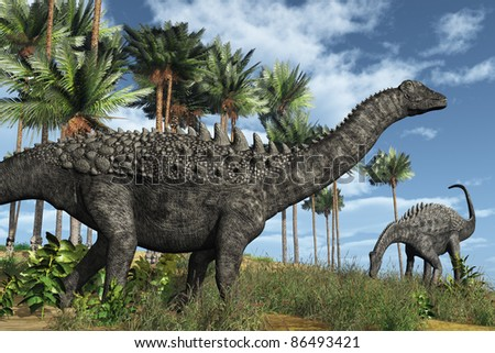 Prehistoric scene with ampelosaurus dinosaurs - 3D render. - stock photo