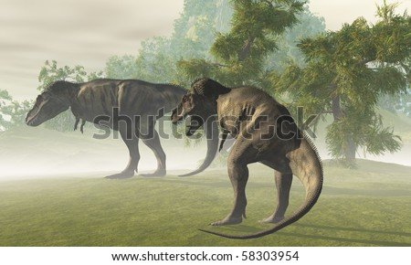 PREHISTORIC T-REX - Two Tyrannosaurus Rex dinosaurs rest in the early morning light before the days hunt. - stock photo