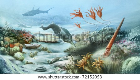 prehistoric underwater life in silurian period - stock photo
