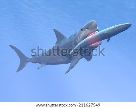 Prehistoric underwater scene showing megalodon shark eating blue whale - 3D render - stock photo