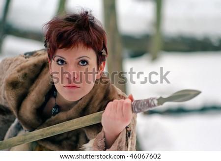 prehistoric woman,  Ice Age - stock photo
