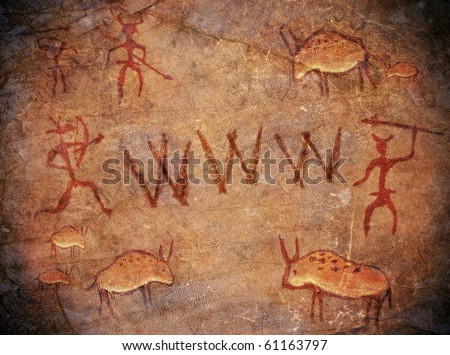 prehistoric world wide web cave paint - stock photo