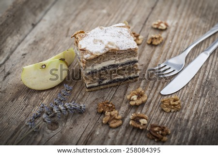 Prekmurska hibanica over mura moving layered cake - stock photo
