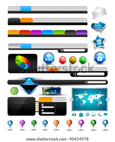 Premium Collection of modern style web headers, forms, icons, world map, glossy design elements and buttons - stock photo
