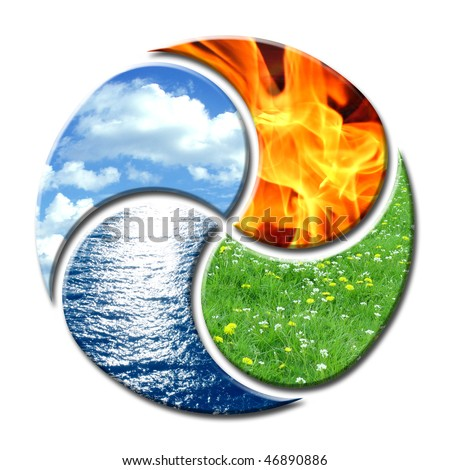 Premium composition of the four natural elements water, air, fire and earth. They create a cycle of balance similar to yin and yang. - stock photo