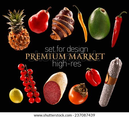 Premium foods delicatessen / studio photography of delicious foodstuffs - isolated on black background  - stock photo