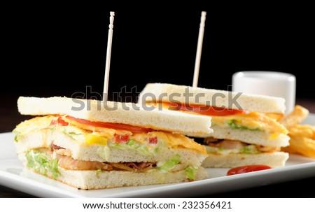 Premium fresh triple decker club sandwich with french fries on side  - stock photo