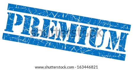 Premium grunge blue stamp - stock photo