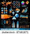 Premium infographics master collection: graphs, histograms, arrows, chart, 3D globe, icons and a lot of related design elements. - stock photo