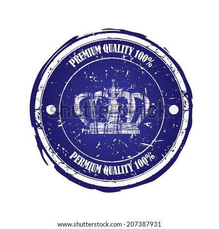 Premium quality blue rubber stamp with crown isolated on white background.
