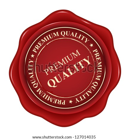 premium quality red wax seal isolated on white background. raster version, vector file also available in gallery - stock photo