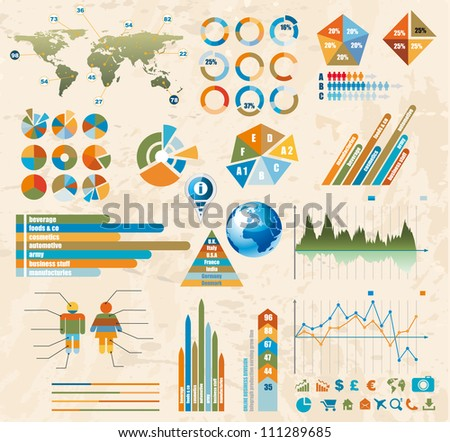 Premium Retro infographics master collection: graphs, histograms, arrows, chart, 3D globe, icons and a lot of related design elements. - stock photo