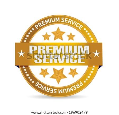 premium service gold seal illustration design over a white background - stock photo