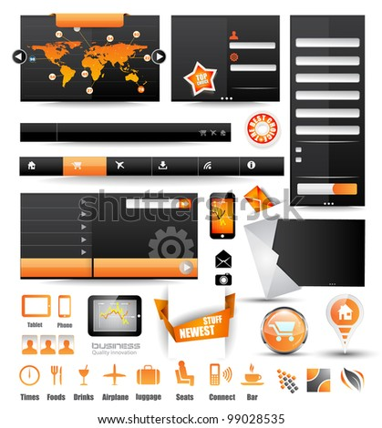 Premium templates and Web stuff master collection: graphs, histograms, arrows, chart, infographics, icons and a lot of related design elements. - stock photo