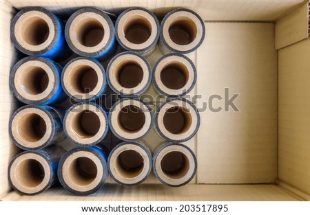 Premium Thermal Transfer Ribbons (TTR) in a paper box - stock photo