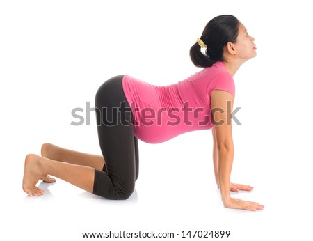 Prenatal yoga meditation. Full length healthy Asian pregnant woman doing yoga meditation at home, full body isolated on white background. Yoga cat positions. - stock photo