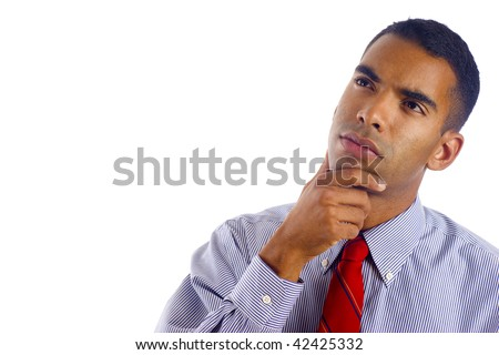 Preoccupied Biracial African / Hispanic Mixed young business man wondering, a lot of copyspace, Isolated over white background - stock photo