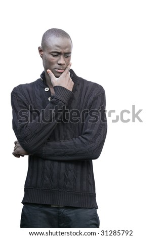 Preoccupied black young man wondering. - stock photo