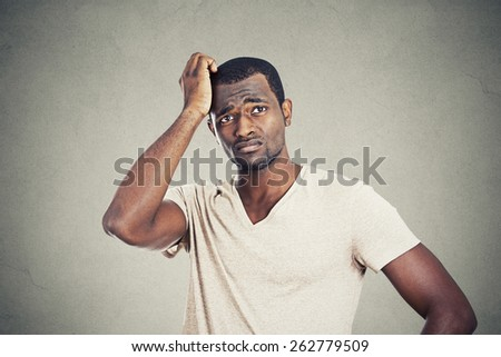 Preoccupied man - stock photo