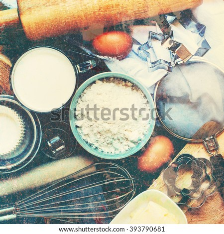 Preparation Baking Kitchen Table View Top Wooden Metal Dishes Ware Fresh Grocery Different Stuff Shabby Effect Top Toned Instagram - stock photo