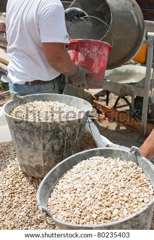 Preparation for construction of cement deck - stock photo