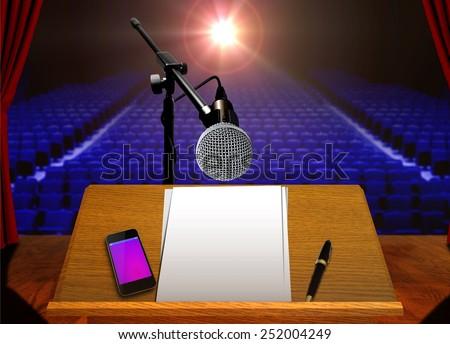 Preparation for stage presentation - stock photo
