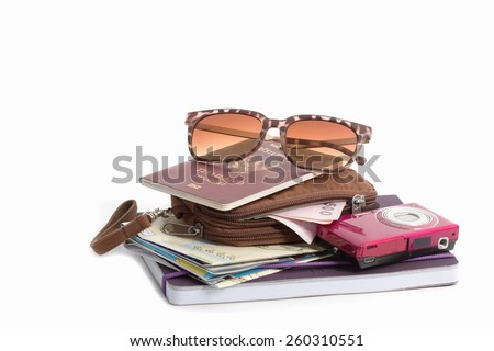 Preparation for travel, hand bag, note book, road map,camera ,hat and sun glass on isolate - stock photo