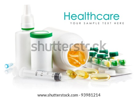 preparation in pill and capsule isolated on white background - stock photo