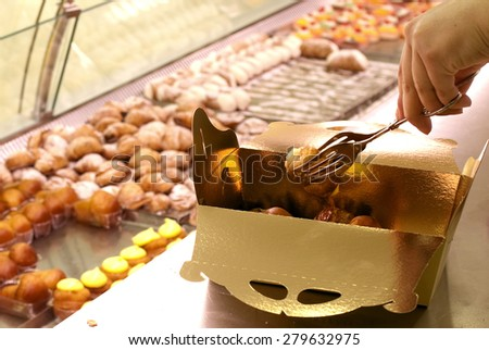 preparation of a pack of pastries  - stock photo