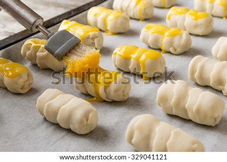 preparation of appetizers with fresh pasta and salami