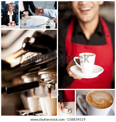 Preparation of coffee, cappuccino collage. - stock photo