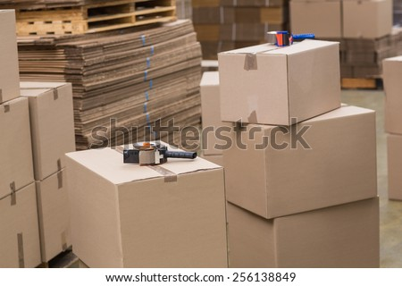 Preparation of goods for dispatch in a large warehouse - stock photo