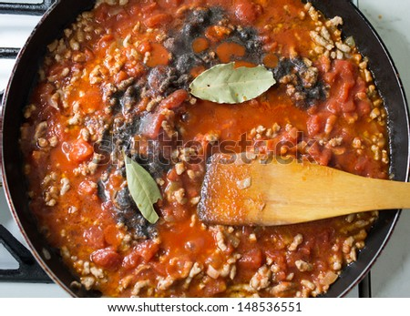 Preparation of lasagne, Italian cuisine in Polish conditions. - stock photo