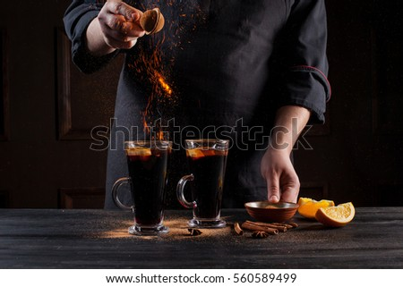 Professional chef fire cooking vegetables food stock photo for Food bar hands