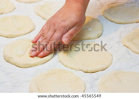 Preparation of pizza at home - stock photo