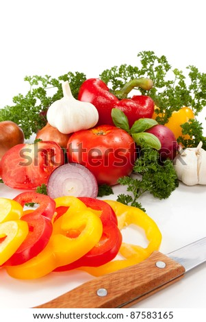 preparation vegetables for cooking, isolated on white background
