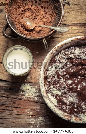 Preparations for making homemade chocolate - stock photo