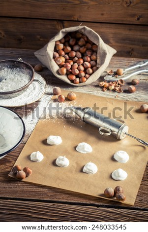 Preparations for making homemade macaroons - stock photo