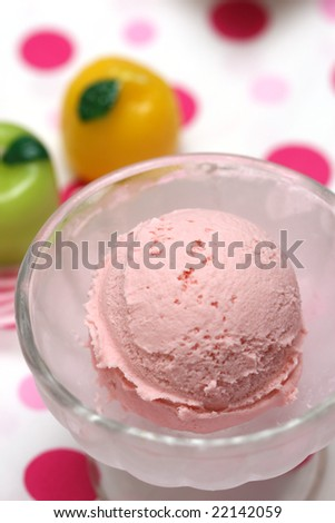 prepared and delicious dessert with colorful background
