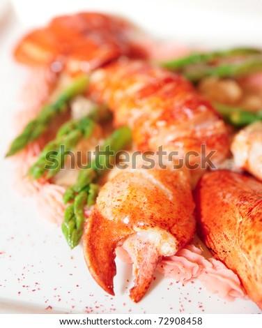 Prepared bretagne lobster - stock photo