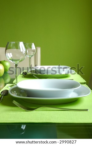 Prepared dining table - stock photo