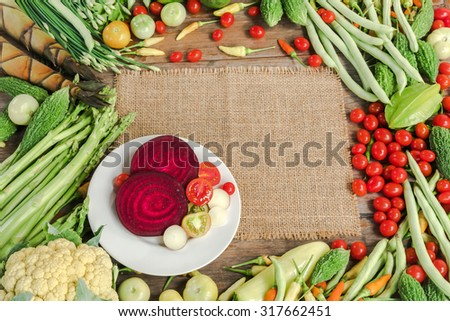 Prepared Fresh vegetables for cooking