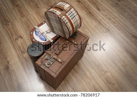 Prepared Luggage and Suitcases for holiday at home from top - stock photo