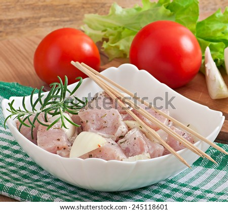 Prepared marinated with onions and herbs pieces of meat for barbecue