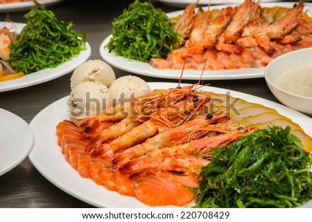 Prepared shrimps, chuka and Vorschmack - stock photo