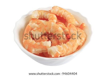 prepared shrimps in a bowl isolated on white with clipping path - stock photo