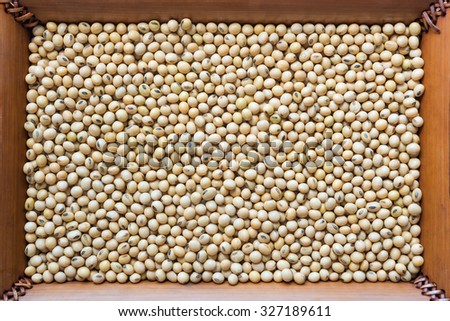 Prepared Soybean in bamboo dish for cooking