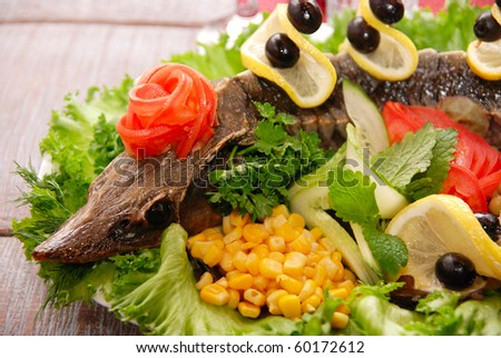 Prepared Sterlet with vegetables tasty dish