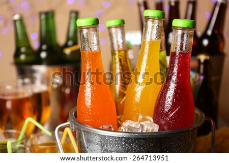 Prepared table with drink for party - stock photo